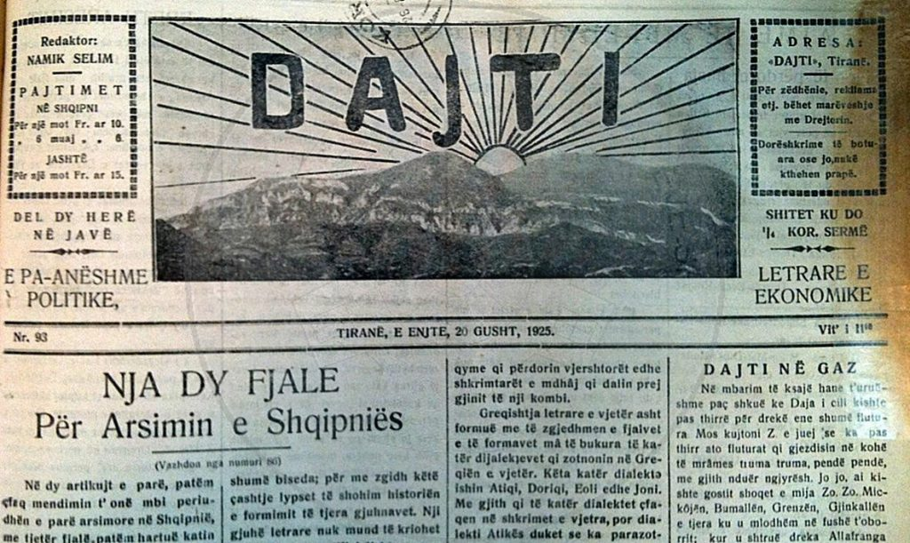 "January 5th, 1924, the first number of the weekly ""Dajti"""