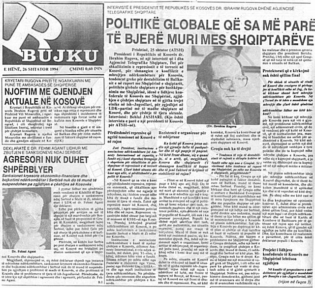 "18 January 1991, was published ""Bujku"" newspaper, in Pristine"