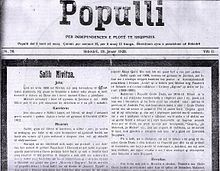 "18 January 1919, was published the first number of ""Populli"" newspaper in Shkodra"