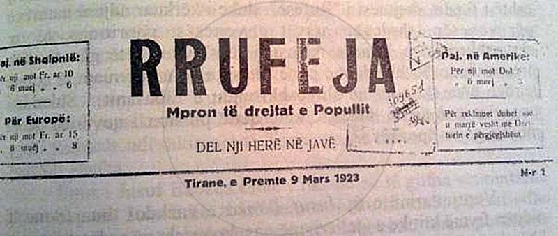 "25 January 1909, was published the first number of ""Rrufeja"" magazine"