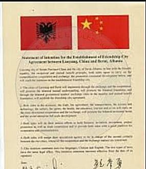 24 January 1991, cooperation agreement between the Albanian and Chinese television