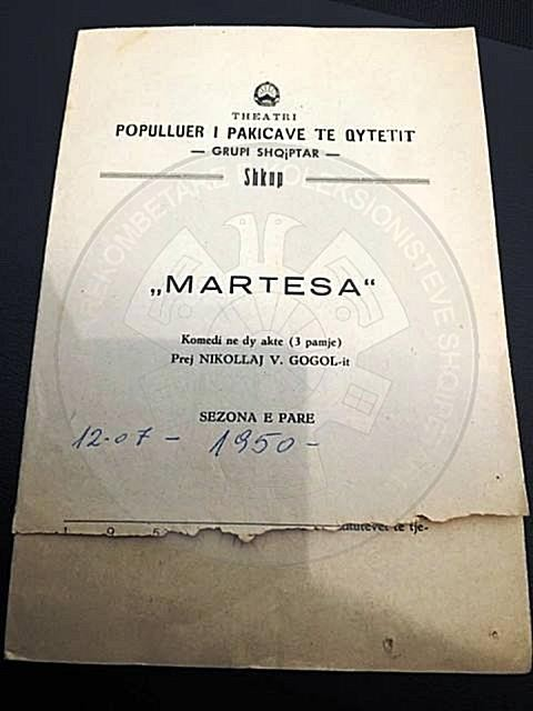"25 February 1946, premiere at Kosovo Theater, of the comedy ""Martesa"""