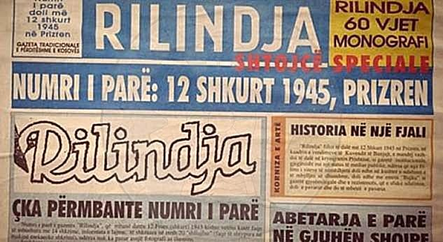 "February 12th, 1945 came out in Pristina the first issue of the newspaper ""Rilindja"""