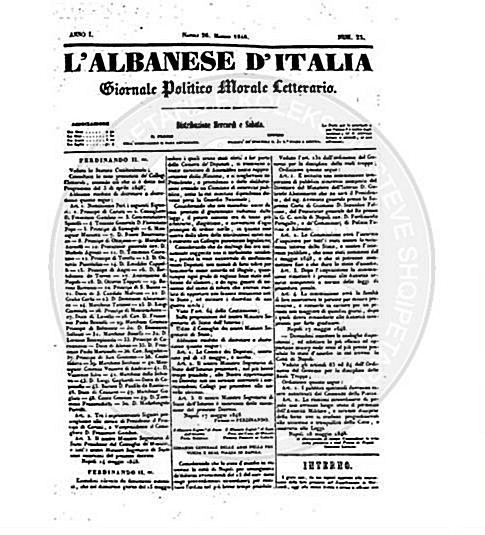 "23 February 1848, was published by De Rada the newspaper ""L'Albanese d'Italia"""