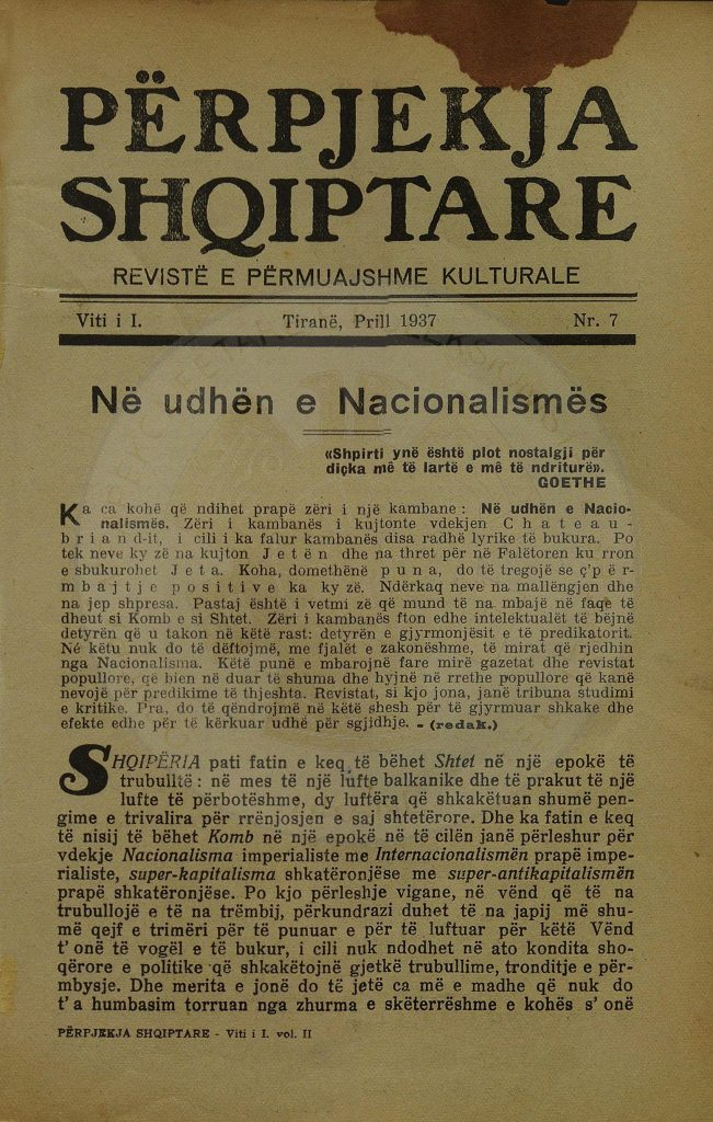 4 April 1937, the newspapers of Tirana wrote for the working issue with long-term plans