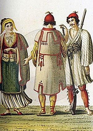 28 March 1805, the British Colonel describes the fantastic Albanian costumes of Morea