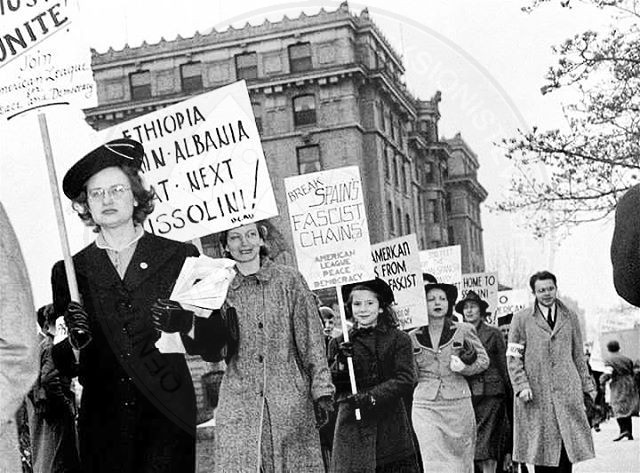 16 April 1939, protest rally in Boston against the fascist invasion of Albania