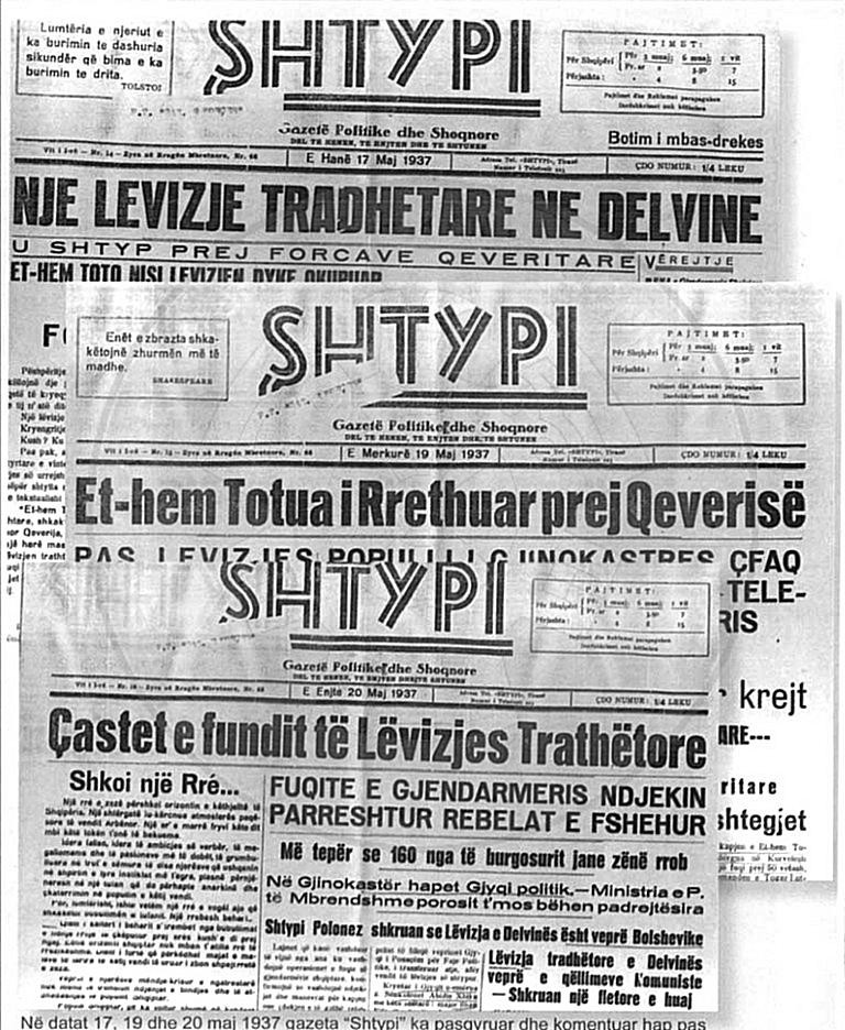 "18 April 1937, was published the first number of  ""Shtypi"" newspaper"