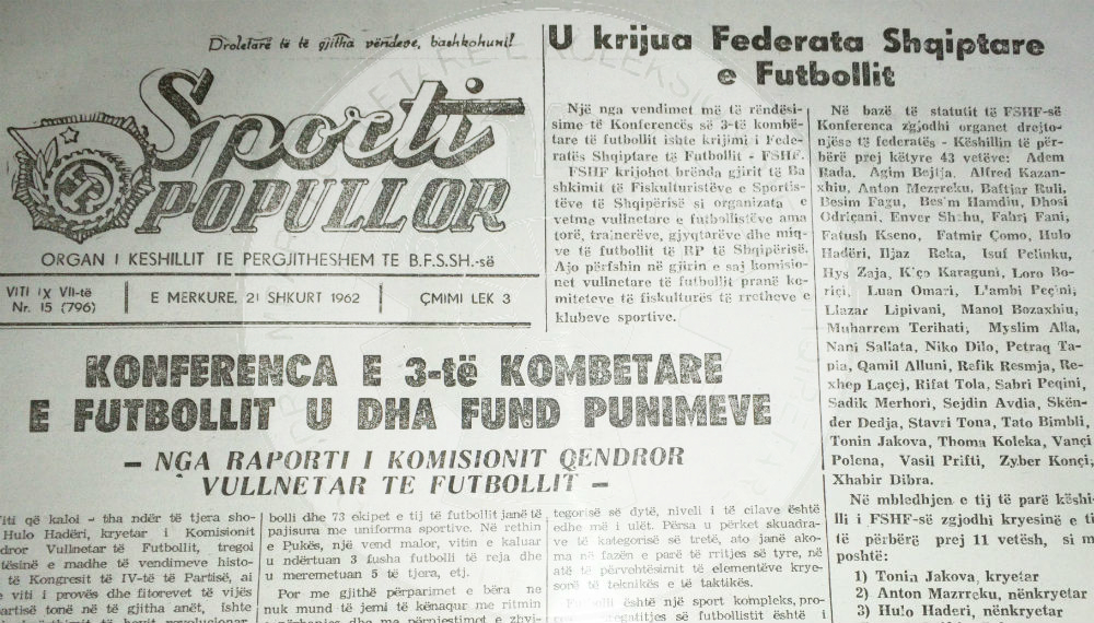 "30 July 1945, was published the first number of the newspaper ""Sport"""