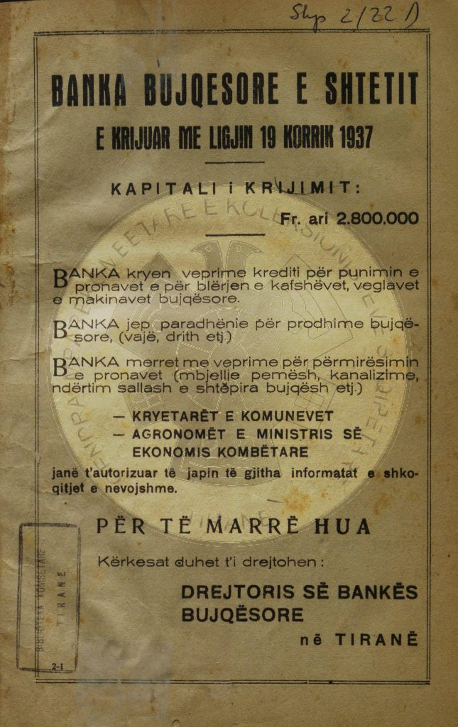 21 July 1937, the Albanian Agricultural Bank was inaugurated
