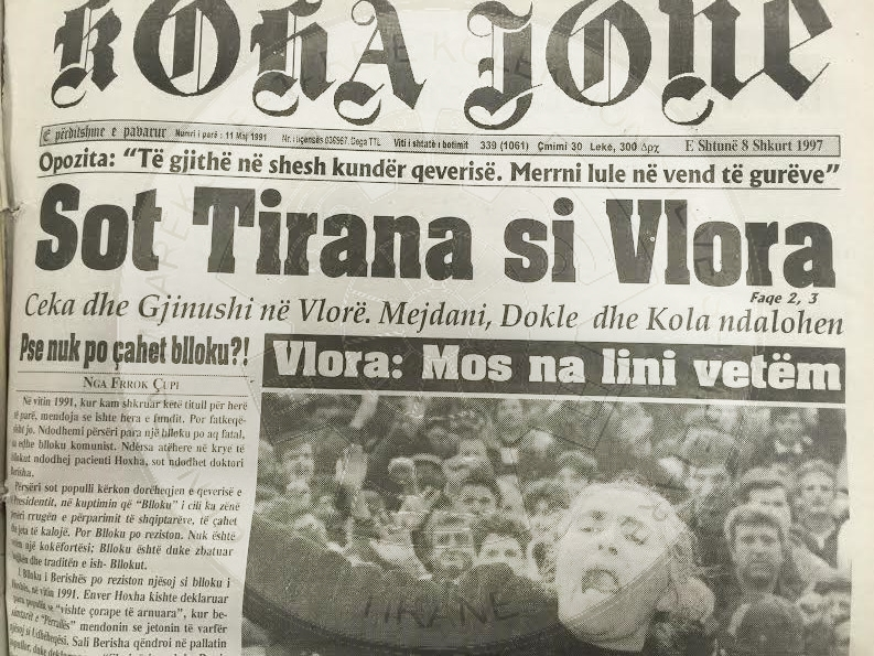 "11 August 1991, was published the newspaper ""Koha jone"""