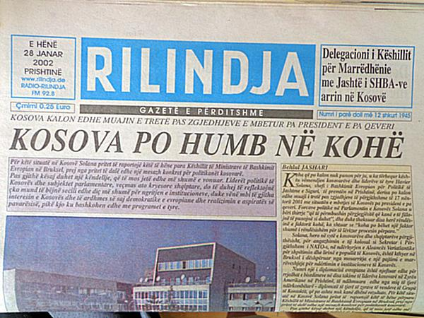 "7 May 1992, was published the first number of ""Rilindja"" newspaper of Kosovo"