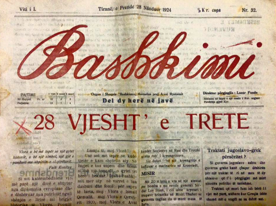 "8th November 1908, the first issue of the biweekly newspaper ""Bashkimi"""